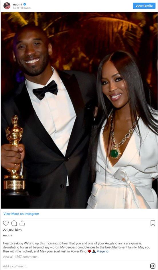 Stars pay tribute to Kobe Bryant and his daughter Gianna