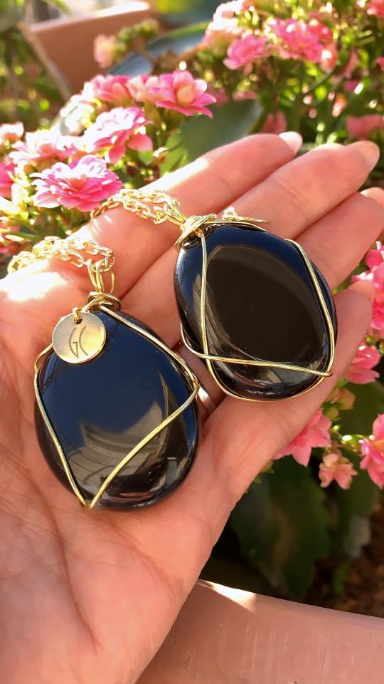 obsidian pendants
