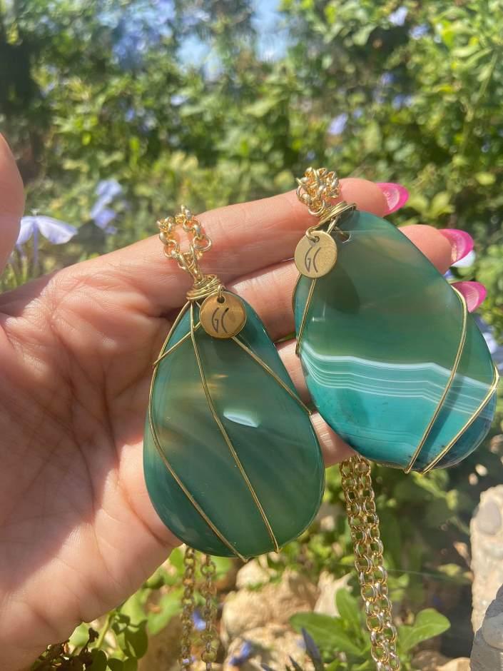 Green Agate Crystal Pendants